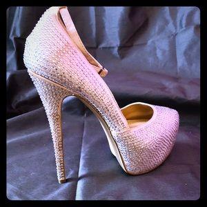 Champagne Satin Crystalled Stilleto Heels size 10